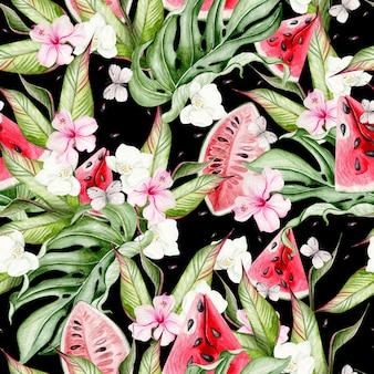 Lato akwarela bezszwowe wzór z tropikalnych liści, kawałków arbuza, kwiatów hibiskusa i motyli. ilustracja