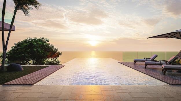 Lato, salon na plaży, taras przy basenie nad morzem z leżakami w luksusowej willi z panoramicznym widokiem na morze rano
