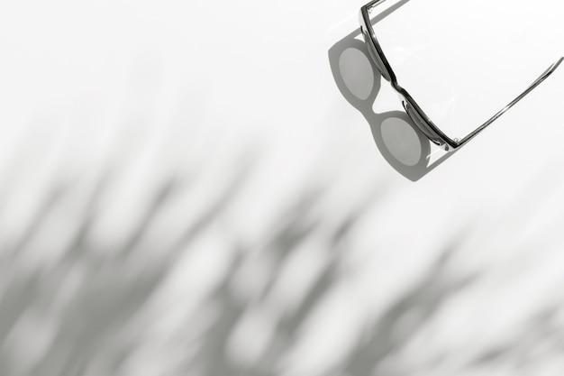 Lato światło słoneczne z cienia liścia palmowego z modnymi okularami przeciwsłonecznymi na białym tle