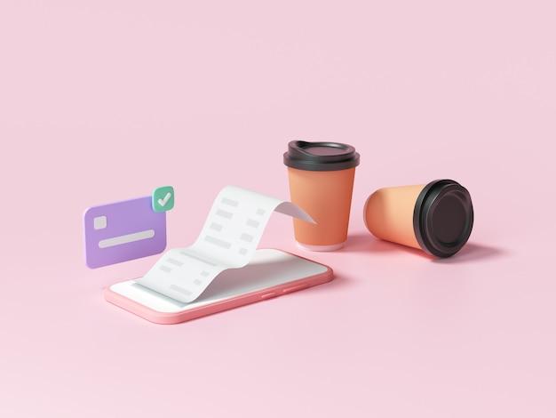 Łatwa płatność zbliżeniowa za pomocą koncepcji smartfona. zakupy online przez telefon komórkowy i transakcja płatnicza. ilustracja renderowania 3d