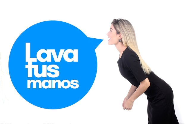 Lava tus manos (myj ręce po hiszpańsku) przeciwko koronawirusowi, covid-19, 2019-ncov, sars-cov-2. zagrożenie wirusem pandemii.