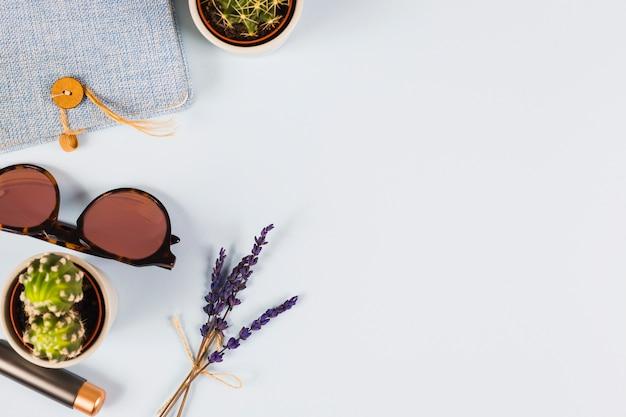 Lawenda; kaktus roślina; okulary słoneczne; pamiętnik i szminka na białym tle