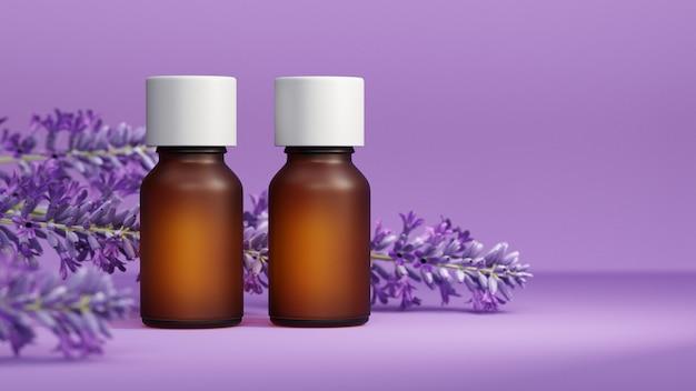 Lawendowy i istotny olej na purpurowym tle