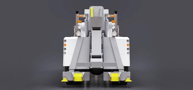 Laweta z białym ładunkiem do transportu innych dużych ciężarówek lub różnych ciężkich maszyn. renderowania 3d.