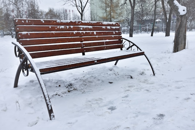 Ławka śnieżna w parku zimowym, śnieg na ławce, park zimowy, odpoczynek w parku, śnieg w parku