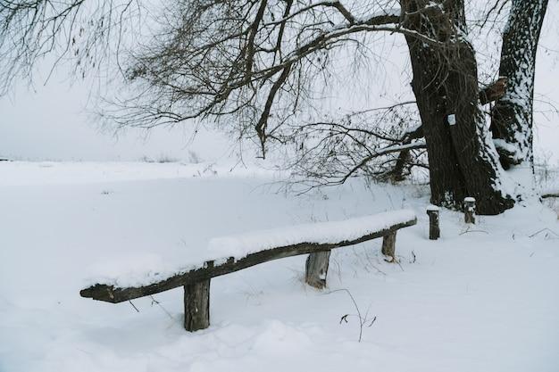 Ławka w parku zaśmiecona świeżym śniegiem