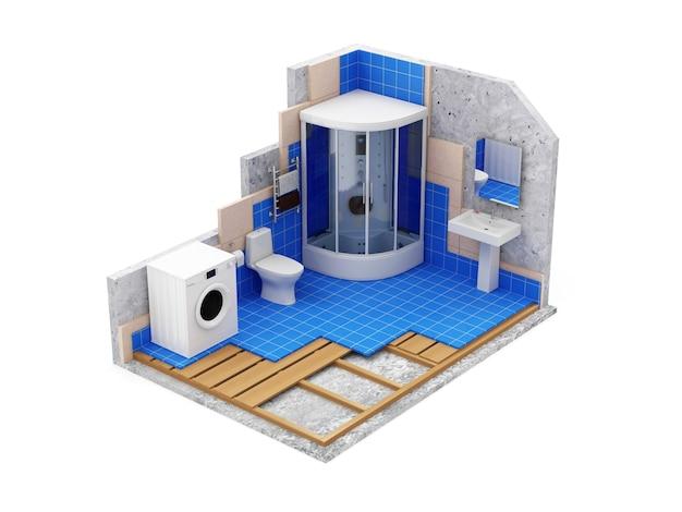 Łazienka w budowie na białym tle