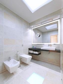 Łazienka w minimalistycznym stylu. zastosowanie dużych lamp w nowoczesnym wnętrzu. renderowania 3d