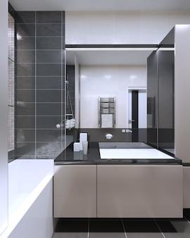 Łazienka w nowoczesnym stylu z dużym lustrem z lampami neonowymi, brzoskwiniowymi puszystymi meblami z dekoracją w kolorze antracytu