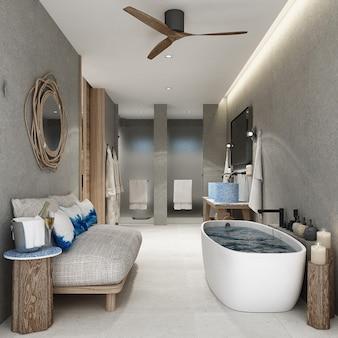 Łazienka z drewnianymi meblami dekoracyjnymi i białą podłogą wyłożoną kafelkami. renderowanie 3d