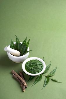 Lecznicza neem pozostawia w moździerzu z pastą i gałązkami na zielonej powierzchni