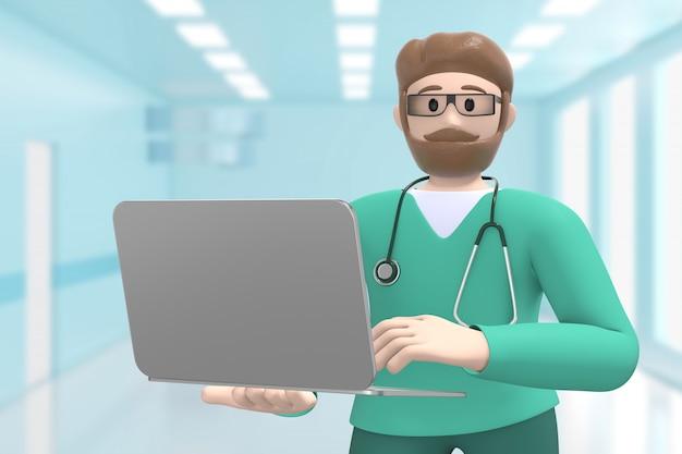 Lekarz białego człowieka we wnętrzu medycznym szpitala trzyma laptopa. postać z kreskówki. renderowanie 3d.