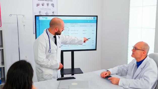 Lekarz ekspert przedstawiający swojemu zespołowi listę chorych pacjentów, wspólnie ustalając ich priorytet. zespół lekarzy omawiający diagnozę dotyczącą leczenia pacjentów pracujących w sali posiedzeń szpitalnych