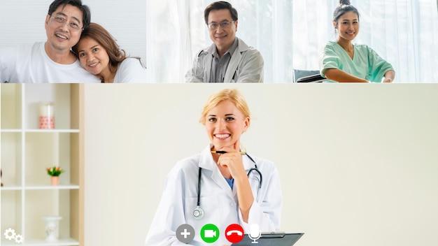 Lekarz i pacjent rozmawiają podczas rozmowy wideo