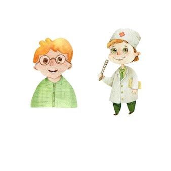 Lekarz okulista dzieci ładny chłopiec rude włosy charakter ilustracja akwarela na białym tle