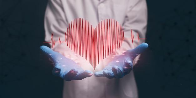 Lekarz pokazujący ikonę, fala serca, kształt, serce.ilustracja