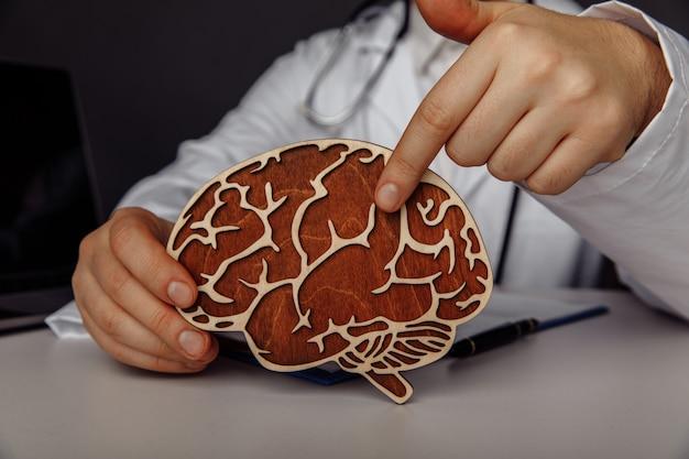 Lekarz pokazuje drewniany mózg w swoim biurze i koncepcji wczesnej diagnozy