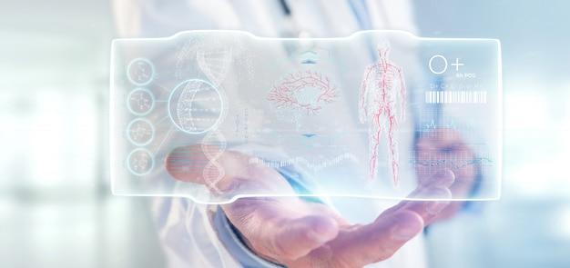 Lekarz posiadający interfejs futurystyczny szablon hud