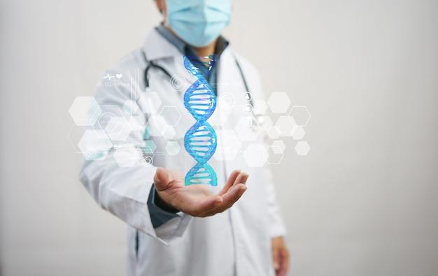 Lekarz posiadający strukturę spirali dna genetyczna biotechnologia chemia biologia