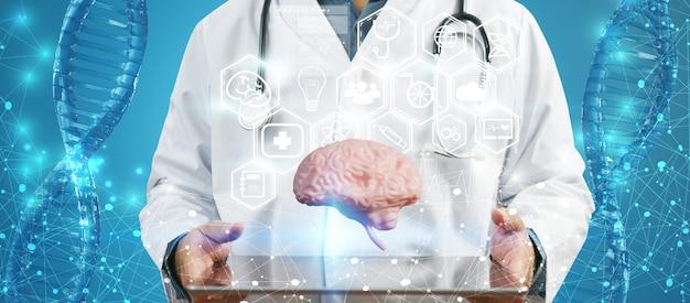 Lekarz sprawdzający mózg. wczesna diagnostyka, koncepcja nauki i medycyny