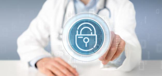 Lekarz trzymając ikonę kłódki bezpieczeństwa koła ze statystykami i renderowania kodu binarnego 3d