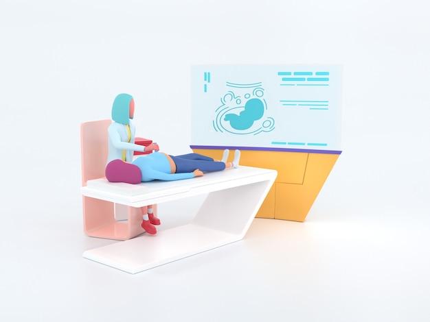 Lekarz usg z serii healthcare. ultrasonograf w pracy.
