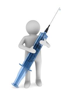 Lekarz z medyczną strzykawką na białym tle. ilustracja na białym tle 3d