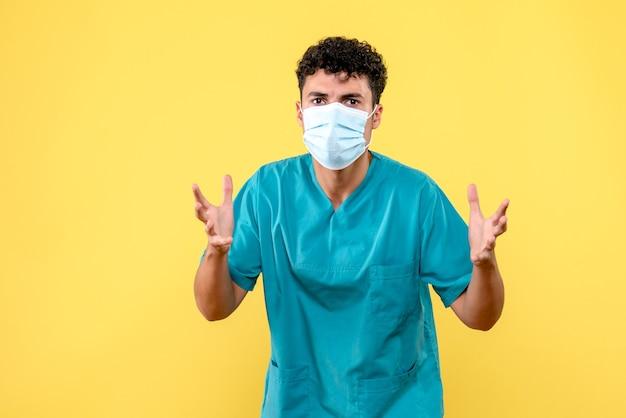 Lekarz z przodu lekarz jest zaskoczony nowymi chorobami