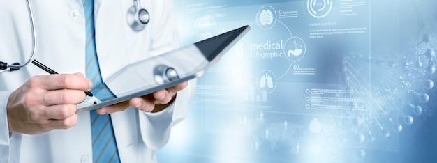Lekarz z tabletem na niebieskim tle i ilustracji