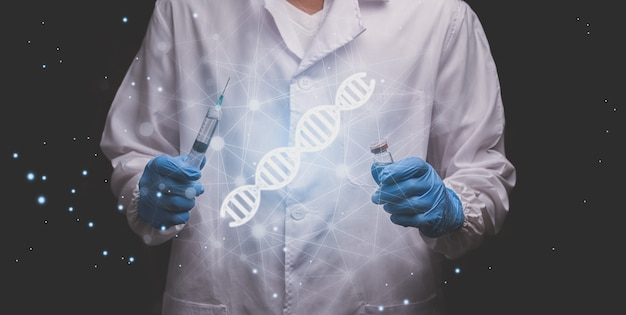 Lekarze pokazują hologram dna w celu leczenia choroby