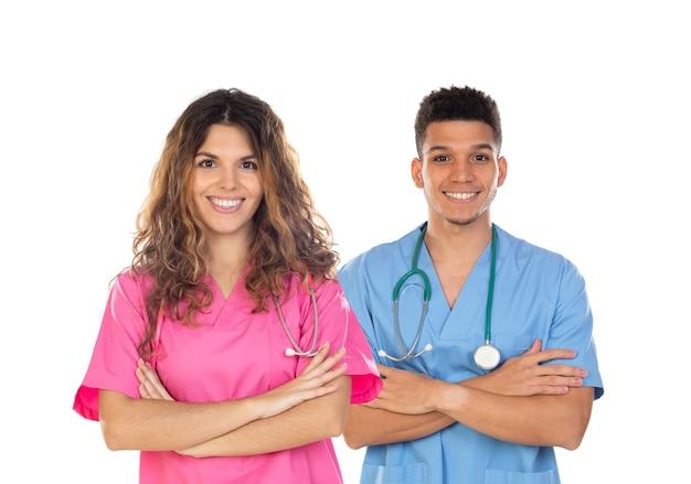 Lekarze Z Kolorowymi Mundurami Na Białym Tle Premium Zdjęcia