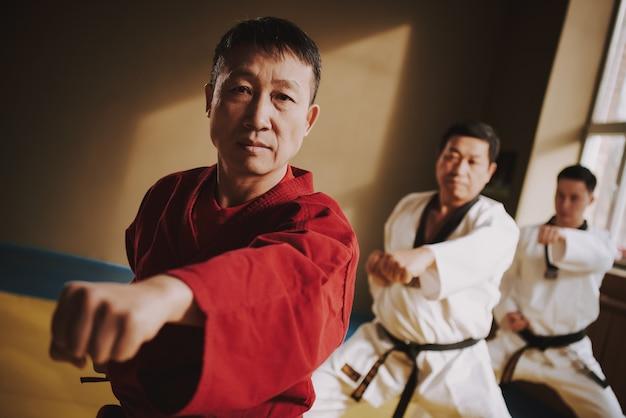 Lekcje kung fu z doświadczonym nauczycielem w sali.