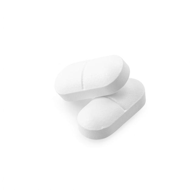 Leki paracetamol na białym tle