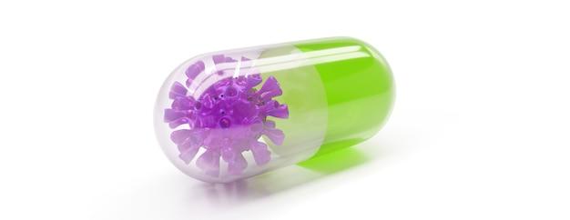 Leki przeciwwirusowe kapsułki do leczenia i zapobiegania nowej infekcji wirusem koronowym, koncepcyjne renderowanie 3d.