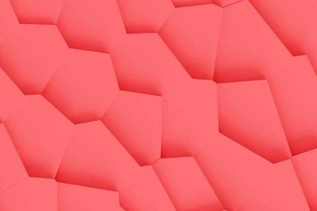Lekka cyfrowa tekstura bloków o różnych rozmiarach o różnych kształtach góruje jeden nad drugim, rzucając cienie żywą koralową kolor 3d ilustrację