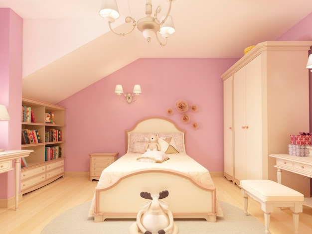 Lekki pokój dziecięcy w klasycznym stylu dla dziewczynki. renderowanie 3d.