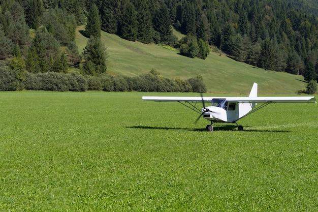 Lekki samolot lądujący na zielonej łące