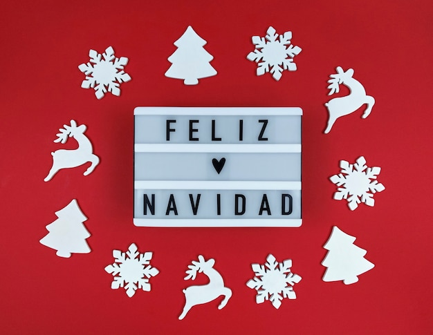 Lekkie pudełko z frazą feliz navidad, hiszpańskie wesołych świąt