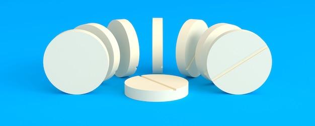 Lekkie tabletki ułożone w półkole wokół jednego na niebieskim tle, ilustracja 3d