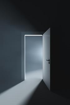 Lekko uchylone drzwi do pokoju z jasnym światłem.