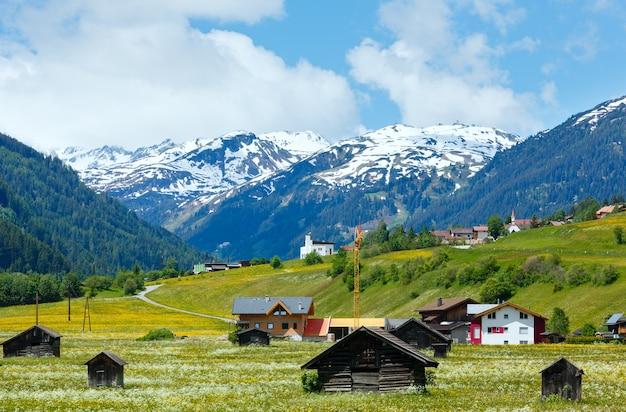Letni alpejski widok na kraj z trawiastą łąką i drogą do wioski (austria)