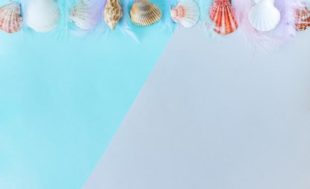 Letni baner w tle muszle na minimalnym szaroniebieskim tle miejsce na tekst copyspace