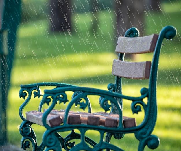 Letni ciepły deszcz. metalowa ławka z drewnianymi siedzeniami na tle zielonego parku podczas deszczu.