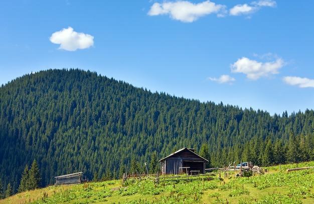 Letni górski krajobraz płaskowyżu z gospodarstwem szopy na szczycie wzgórza