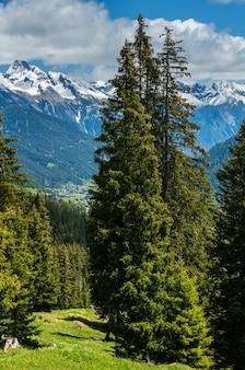 Letni krajobraz górski alpy z jodłowym lasem na zboczu i pokryte śniegiem skaliste szczyty w dalekiej austrii.