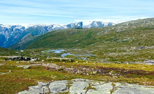 Letni krajobraz górski z małymi jeziorami na zboczu.