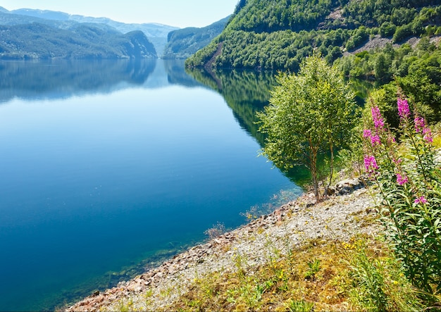 Letni krajobraz górskiego jeziora suldalsvatn