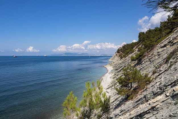Letni krajobraz. malownicza kamienista dzika plaża u podnóża skał, w bezpośrednim sąsiedztwie kurortu gelendzhik i sąsiedniego miasta noworosyjsk. rosja, wybrzeże morza czarnego