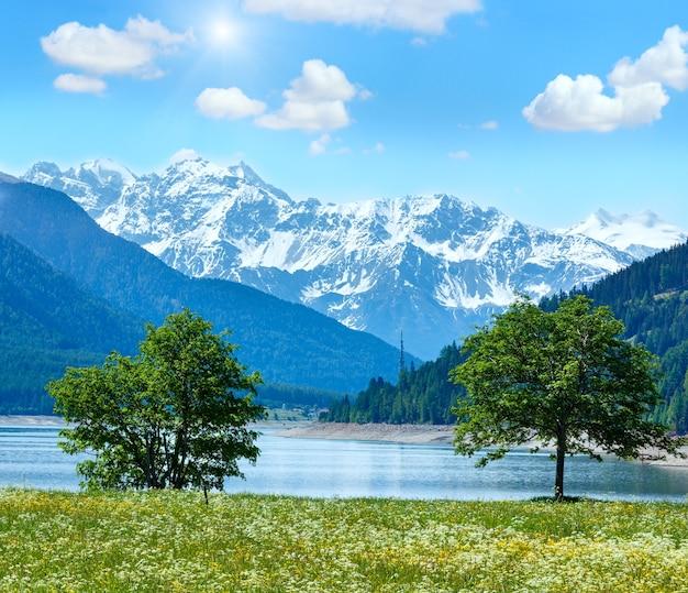 Letni krajobraz sunshiny reschensee (lub lake reschen) z kwitnącą łąką i niebieskim pochmurnym niebem (włochy)