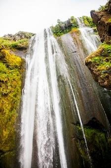 Letni krajobraz w wodospadzie seljalandsfoss, południowa islandia, europa.
